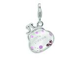 "Amore LaVita Sterling Silver 3-D Swarovski Crystal and Enameled """"Little Princess"""" for Charm Bracelet"