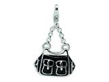 Amore LaVita™ Sterling Silver 3-D Enameled Black Handbag w/Lobster Clasp Charm for Charm Bracelet style: QCC226