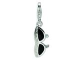 Amore LaVita™ Sterling Silver 3-D Enameled Sunglass w/Lobster Clasp Charm for Charm Bracelet style: QCC228
