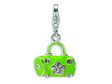 Amore LaVita™ Sterling Silver Green Enameled and Crystal Purse w/Lobster Clasp Charm for Charm Bracelet