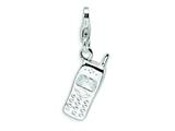 Amore LaVita™ Sterling Silver Polished Cell Phone w/Lobster Clasp Charm for Charm Bracelet