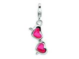 Amore LaVita™ Sterling Silver 3-D Enameled Coral Heart Sunglasses w/Lobster Clasp Charm for Charm Bracelet