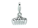 Amore LaVita™ Sterling Silver 3-D Swarovski Crystal and Enameled Comb w/Lobster Clasp Bracelet Charm style: QCC248