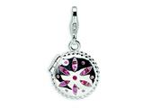 Amore LaVita™ Sterling Silver 3-D Swarovski Crystal and Enameled Compact w/Lobster Clasp Charm (Moveable) for Charm Brac style: QCC250