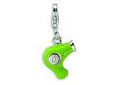 Amore LaVita™ Sterling Silver Green Enameled Hair Dryer w/Lobster Clasp Charm for Charm Bracelet style: QCC254