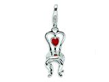 Amore LaVita™ Sterling Silver 3-D Enameled Chair with Heart w/Lobster Clasp Charm for Charm Bracelet style: QCC256