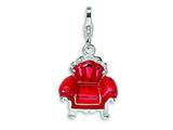 Amore LaVita™ Sterling Silver 3-D Enameled Red Overstuffed Chair w/Lobster Clasp Charm for Charm Bracelet