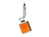 Amore LaVita™ Sterling Silver 3-D Orange Enameled w/Lobster Clasp Bracelet Charm style: QCC258