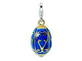 Amore LaVita™ Sterling Silver 3-D Enameled Blue Egg w/Lobster Clasp Charm for Charm Bracelet style: QCC262