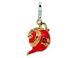 Amore LaVita™ Sterling Silver 3-D Enameled Tea Pot w/Lobster Clasp Charm (Moveable) for Charm Bracelet