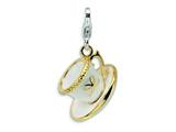 Amore LaVita™ Sterling Silver 3-D Enameled and White Cup and Saucer w/Lobster Bracelet Charm style: QCC269