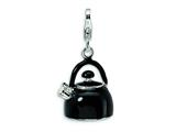 Amore LaVita Sterling Silver 3-D Enameled Black Tea Kettle w/Lobster Clasp Charm for Charm Bracelet