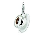 Amore LaVita Sterling Silver 3-D Enameled Cappuccino w/Lobster Clasp Charm for Charm Bracelet
