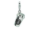 Amore LaVita™ Sterling Silver 3-D Enameled To Go Coffee Cup w/Lobster Clasp Charm for Charm Bracelet style: QCC281
