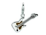 Amore LaVita™ Sterling Silver 2-D Enameled Guitar w/Lobster Clasp Charm for Charm Bracelet
