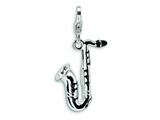 Amore LaVita Sterling Silver 3-D Enameled Saxophone w/Lobster Clasp Charm for Charm Bracelet