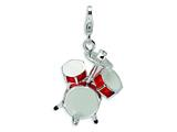 Amore LaVita™ Sterling Silver 3-D Enameled Drum Set w/Lobster Clasp Charm for Charm Bracelet style: QCC293