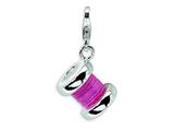 Amore LaVita™ Sterling Silver 3-D Enameled Pink Spoll of Thread w/Lobster Clasp Charm for Charm Bracelet style: QCC296