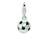 Amore LaVita™ Sterling Silver Enamel Miniature Soccer Ball w/ Fancy Lobster w/Lobster Cla for Charm Bracelet style: QCC299