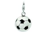 Amore LaVita Sterling Silver Enamel Soccer Ball w/Lobster Clasp Charm for Charm Bracelet