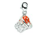 Amore LaVita™ Sterling Silver 3-D Enameled Basketball in Net w/Lobster Clasp Charm (Moveable) for Charm Bracelet style: QCC303
