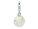 Amore LaVita™ Sterling Silver Polished Volleyball w/Lobster Clasp Charm for Charm Bracelet