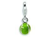 Amore LaVita™ Sterling Silver 3-D Enameled Tennis Ball w/Lobster Clasp Charm for Charm Bracelet