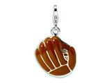 Amore LaVita™ Sterling Silver 3-D Enameled Brown Baseball Mit w/Lobster Clasp Charm for Charm Bracelet