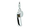 Amore LaVita Sterling Silver Polished Whistle w/Lobster Clasp Charm for Charm Bracelet