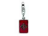 Amore LaVita Sterling Silver CZ and Enameled Diamond Card w/Lobster Clasp Charm for Charm Bracelet