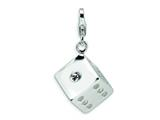 Amore LaVita Sterling Silver 3-D Swarovski Crystal Die w/Lobster Clasp Charm for Charm Bracelet