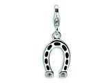 Amore LaVita™ Sterling Silver 3-D Enameled Swarovski Crystal Horseshoe w/Lobster Clasp Bracelet Charm style: QCC331