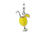 Amore LaVita Sterling Silver 3-D Enameled Tropical Drink w/Lobster Clasp Charm for Charm Bracelet