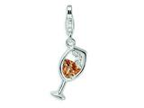 Amore LaVita™ Sterling Silver Open Champaign Glass w/Lobster Clasp Charm for Charm Bracelet