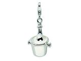 Amore LaVita™ Sterling Silver 3-D Enameled Champagne Bottle in Ice Bucket w/Lobster Clasp for Charm Bracelet style: QCC345