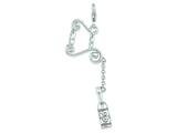 Amore LaVita™ Sterling Silver 3-D Enameled Wine Bottle on Stand w/Lobster Clasp Charm (Moveable) for Charm Bracelet style: QCC349