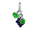 Amore LaVita Sterling Silver 3-D Enameled Grapes w/Lobster Clasp Charm for Charm Bracelet