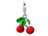 Amore LaVita Sterling Silver 3-D Enameled Red Cherries w/Lobster Clasp Charm for Charm Bracelet