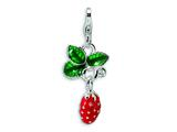 Amore LaVita Sterling Silver 3-D Enameled Strawberry w/Lobster Clasp Charm for Charm Bracelet