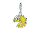 Amore LaVita Sterling Silver 3-D Yellow Enameled Lemon Wedge w/Lobster Clasp Charm for Charm Bracelet
