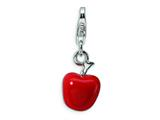 Amore LaVita Sterling Silver Red Enameled Apple w/Lobster Clasp Charm for Charm Bracelet
