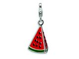 Amore LaVita™ Sterling Silver 3-D Enameled Watermelon Wedge w/Lobster Clasp Charm for Charm Bracelet style: QCC359