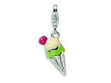 Amore LaVita Sterling Silver 3-D Enameled Ice Cream Cone w/Lobster Clasp Charm for Charm Bracelet