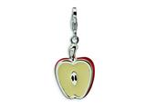Amore LaVita™ Sterling Silver 3-D Enameled Apple w/Lobster Clasp Charm for Charm Bracelet