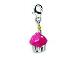 Amore LaVita Sterling Silver Enameled Cupcake w/Lobster Clasp Charm for Charm Bracelet