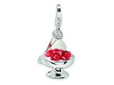 Amore LaVita Sterling Silver 3-D Enameled Dessert and Spoon w/Lobster Clasp Charm for Charm Bracelet