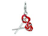 Amore LaVita Sterling Silver 3-D Enameled Red Heart Be Mine Lollipop w/Lobster Clasp Cha for Charm Bracelet