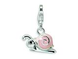 Amore LaVita Sterling Silver Enamel Pink Snail w/Lobster Clasp Charm for Charm Bracelet