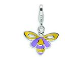 Amore LaVita Sterling Silver Enameled Bee w/Lobster Clasp Charm for Charm Bracelet