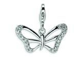 Amore LaVita™ Sterling Silver CZ Butterfly w/Lobster Clasp Charm for Charm Bracelet style: QCC378